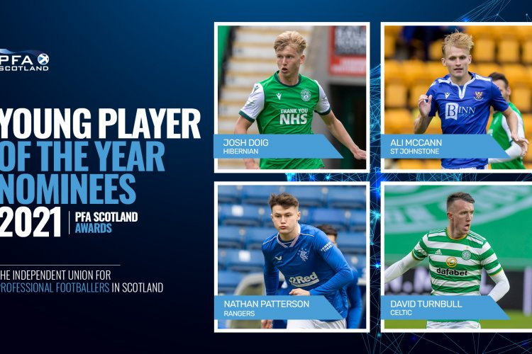 Celtic's Turnbull and Rangers' Patterson battle it out with SFWA winner Doig and McCann for PFA young player of the year